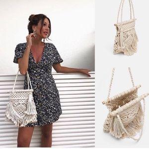 Zara handmade woven fabric bag tassels